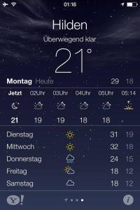 Wetter Anzeige auf dem IPhone 4